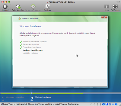 Windows Vista installatie onder VMware Fusion